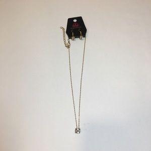 Paparazzi Gold Cubic Zirconia Necklace Earring Set